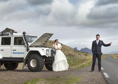 Hitchiking on wedding day