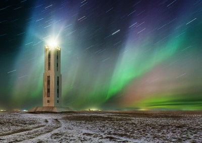 Lighthouse with northern light