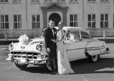 Old car on the wedding day