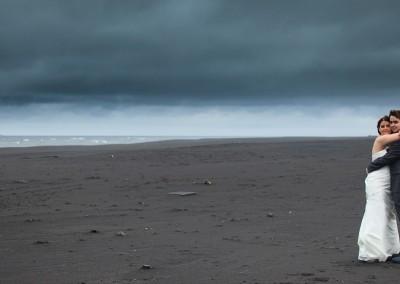 Black sand.