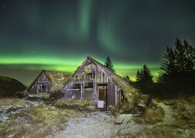 Laxabakki with Northern Lights.